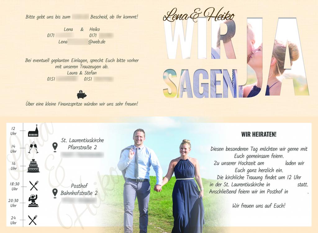 Einladungskarte Hochzeit Kartendesign Nürnberg Ansbach Erlangen Fürth Franken